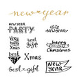 new year handwritten lettering set for cards and vector image