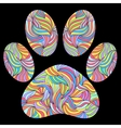 paw print on black background vector image vector image
