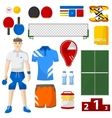 ping pong icons set pong sport equipment vector image vector image