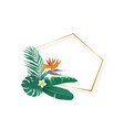 polygon slanted gold frame with tropical hawaii vector image vector image