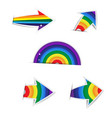 rainbow arrow paper on white background vector image vector image