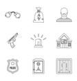 Robbery icons set outline style vector image vector image