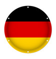 Round metallic flag of germany with screw holes