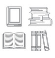 school library books icon set outline style vector image vector image