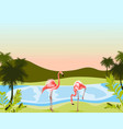 sea with flamingo in water exotic beach landscape vector image