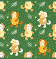 seamless pattern with cute dogs vector image vector image