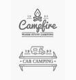 set camp logo with campfire and family trailer vector image vector image