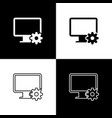 set computer monitor and gear icons on black and vector image vector image