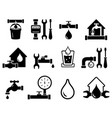 set pipeline construction icons for plumber vector image