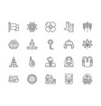 set ukrainian culture line icons national vector image
