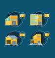 set warehouse buildings with delivery boxes vector image