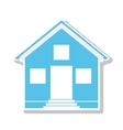 silhouette with blue house one floor vector image vector image