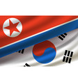 south and north koreas background with flags vector image