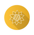 sunflower head flat linear long shadow icon vector image vector image