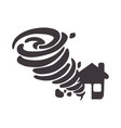 tornado taking and destruction a house vector image vector image