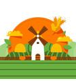 windmill rural barn organic food harvest farmer vector image