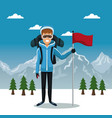 winter mountain landscape poster with skier man vector image vector image