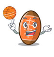 with basketball rugby ball character cartoon vector image