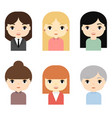 woman avatars set with smiling faces female vector image vector image