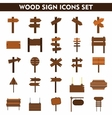 Wood sign icons set on white background vector image