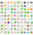 100 spring icons set isometric 3d style vector image vector image
