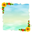 An empty blue template with flowers vector image vector image