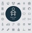 baby kids outline thin flat digital icon set vector image