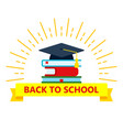 back to school color logo with mortarboard vector image