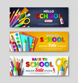 back to school sale horizontal banners with 3d vector image