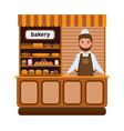 bakery products and elite bread sweets seller vector image