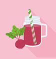 beetroot juice in mason jar glass vector image vector image
