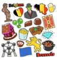 Belgium Travel Scrapbook Stickers Patches Badges vector image