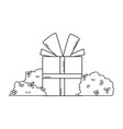birthday giftbox cartoon in black and white vector image