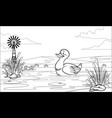 black and white coloring page duck in pond vector image