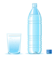 Bottle of clean water and glass vector image