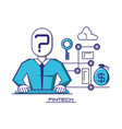 businessman avatar with financial technology icons vector image