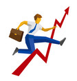 businessman with case jump over decrease in chart vector image vector image