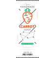 carrot juice label in trendy linear style vector image