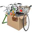 Carton Box with Bicycle Spares vector image