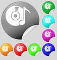 CD or DVD icon sign Set of eight multi colored vector image vector image