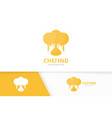chef hat and hands logo combination vector image vector image