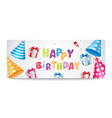 colorful happy birthday balloons banner for party vector image vector image