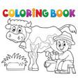 coloring book farmer milking cow vector image vector image