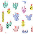 cute cacti seamless pattern succulents background vector image