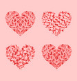 decorated red pink and rose hearts mosaic set vector image vector image