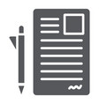 document and pen glyph icon office and paper vector image