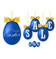 easter egg sale 3d happy easter hanging blue eggs vector image vector image