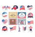 flag and caps usa old glory stickers set vector image vector image