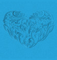 floral blue heart with shadow vector image