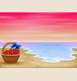 flowers on basket with tropical beach view vector image vector image